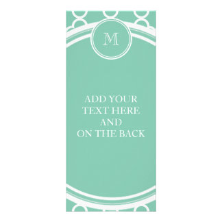 Mint Green Quatrefoil Pattern, Your Monogram Rack Card Design