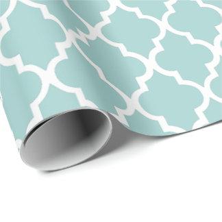 Mint Green Quatrefoil Tiles Pattern Wrapping Paper