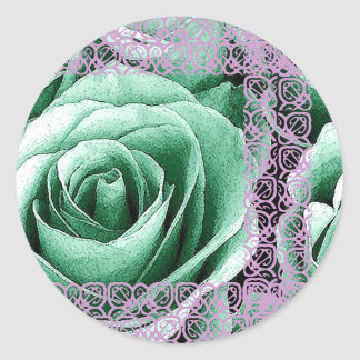 Mint Green Rose RSVP Envelope Seal - Lilac Lace Round Sticker