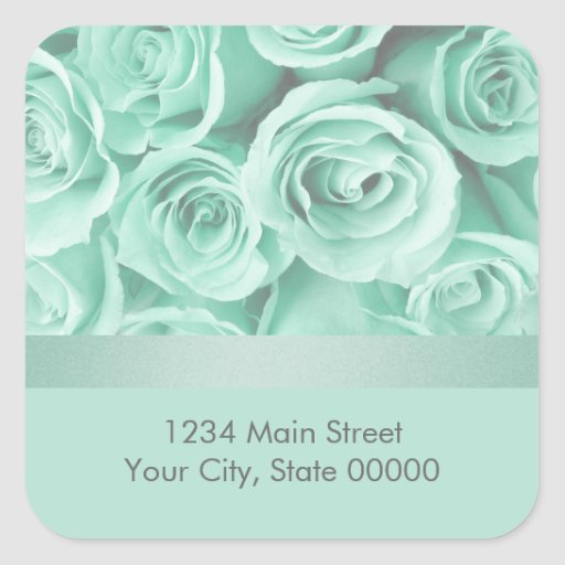 Mint Green Roses Return Address Envelope Seal Square Stickers