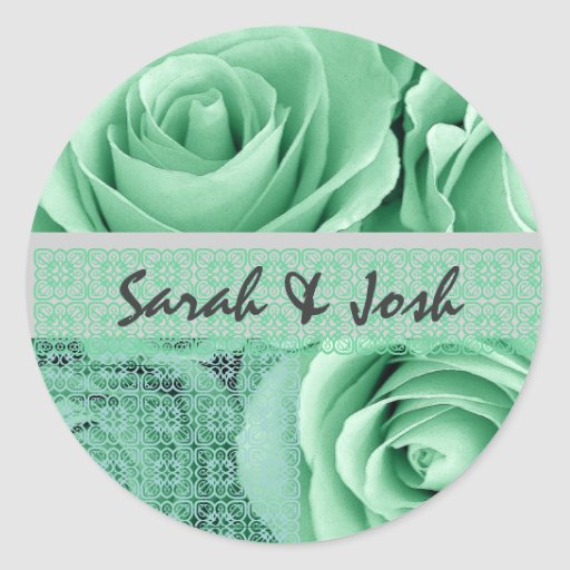 MINT GREEN Roses - Wedding Envelope Seal with Lace Round Stickers
