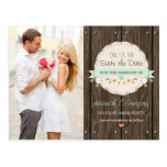 MINT GREEN RUSTIC FLORAL BOHO SAVE THE DATE POSTCARD