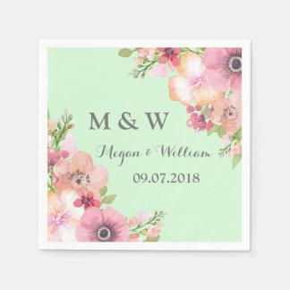 Mint Green Rustic Pink Flowers Wedding Monogram Disposable Serviette