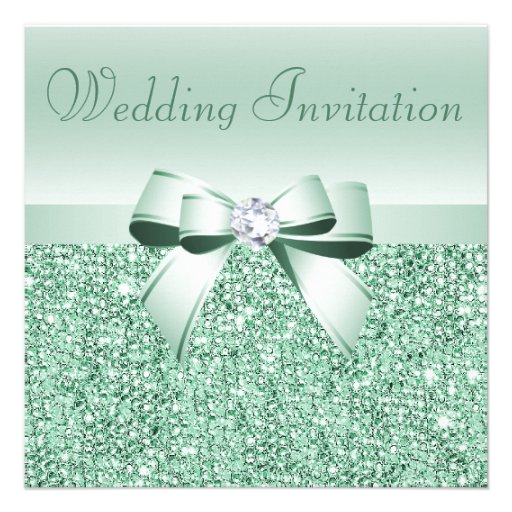 Mint Green Sequins, Bow & Diamond Wedding Personalized Invites