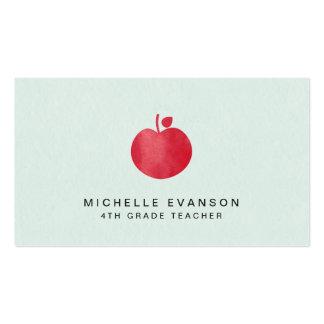 Mint Green Simple Red Apple Elegant Teacher Pack Of Standard Business Cards