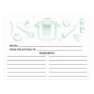Mint Green Sketched Kitchen Tools Recipe Cards Postcard