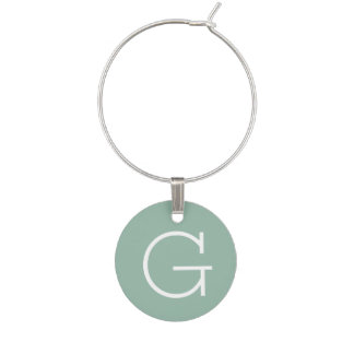 Mint Green Solid Color with Custom Monogram Wine Charm