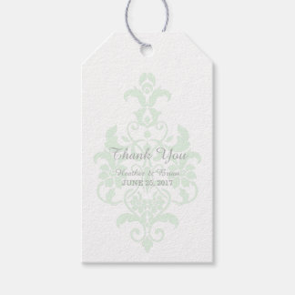 Mint Green Subtle Damask Wedding Gift Tags