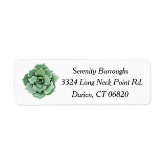 Mint Green Succulent Cactus Watercolor Floral Return Address Label