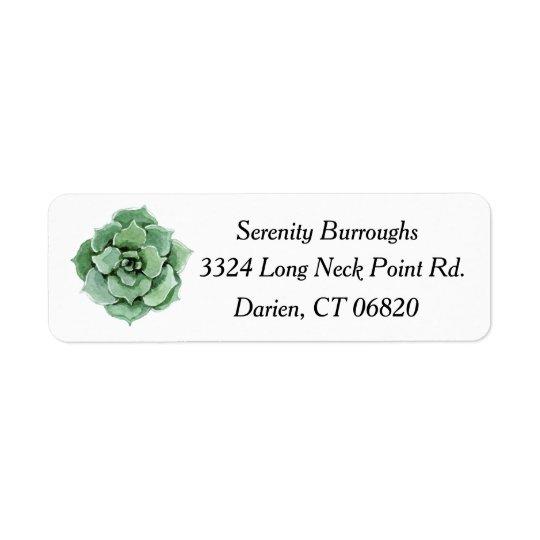 Mint Green Succulent Cactus Watercolor Floral Return Address Label
