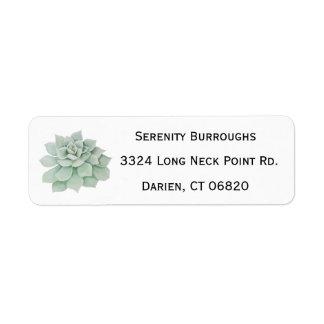 Mint Green Succulent Cactus Watercolor Return Address Label