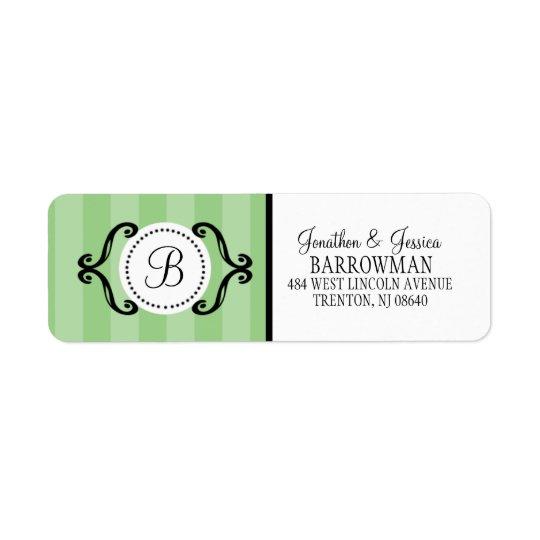 Mint Green Sweet Charming Striped Personalised Return Address Label