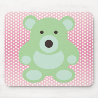 Mint Green Teddy Bear Mousepads
