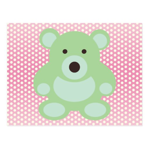 Mint Green Teddy Bear Post Cards