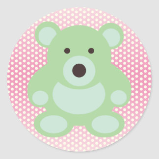 Mint Green Teddy Bear Round Sticker