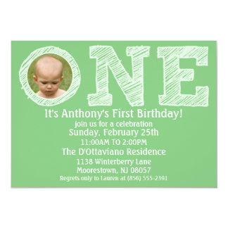 Mint Green The Big One First Birthday Party 13 Cm X 18 Cm Invitation Card