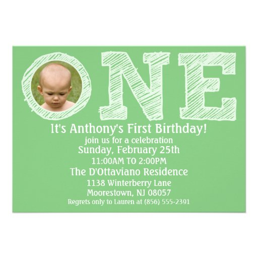 Mint Green The Big One First Birthday Party Invitation