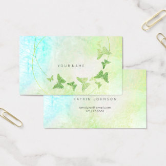 Mint Green Tiffany Blue Butterfly Metallic Business Card