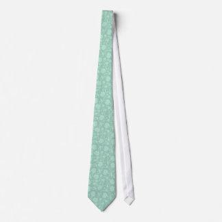 Mint-Green Tones Vintage Floral Damask Pattern Tie