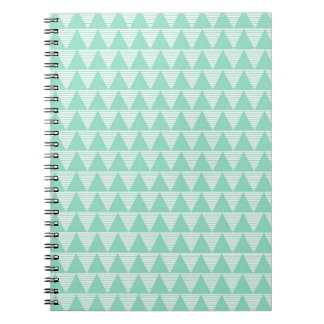 Mint green triangle pattern and white stripes spiral notebook