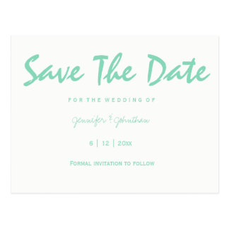 Mint green typography save the date cards