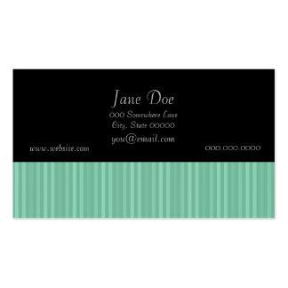 Mint Green Vertical Stripes Business Card Template