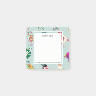 Mint Green Vintage Bird Personalized Post-it Notes