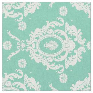 Mint Green Vintage Floral Damask Pattern Fabric