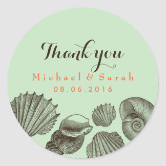 Mint Green Vintage Seashells Beach Wedding Sticker