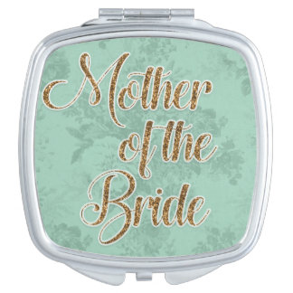 Mint Green w/Gold Mother of the Bride Compact Travel Mirror