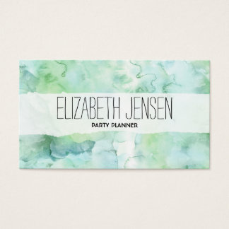 Mint Green Watercolor Businesscard Business Card