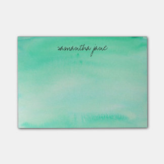Mint Green Watercolor Personalized Post-it Notes