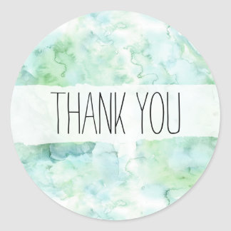 Mint Green Watercolor Thank You Sticker