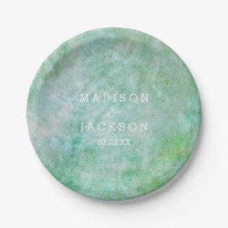 Mint Green Watercolor Wedding Monogram Paper Plate