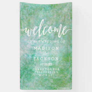 Mint Green Watercolor Wedding Welcome Banner
