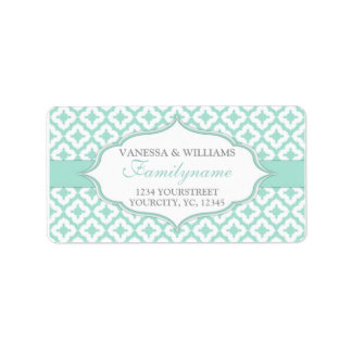 Mint green wedding custom address labels