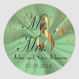 Mint Green Wedding for the Mr & Mrs | Personalize Round Sticker