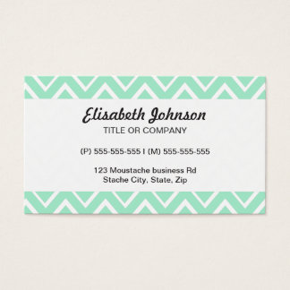 Mint green whimsical zigzag chevron pattern business card