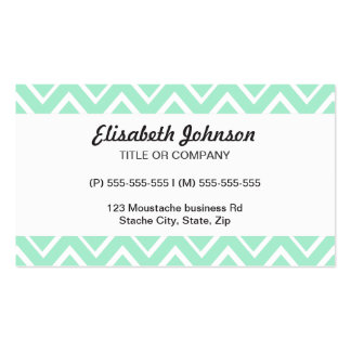 Mint green whimsical zigzag chevron pattern pack of standard business cards