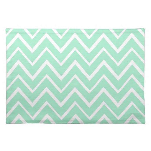 Mint green whimsical zigzag chevron pattern place mats