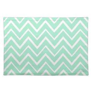 Mint green whimsical zigzag chevron pattern placemat