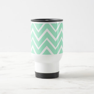 Mint green whimsical zigzag chevron pattern travel mug