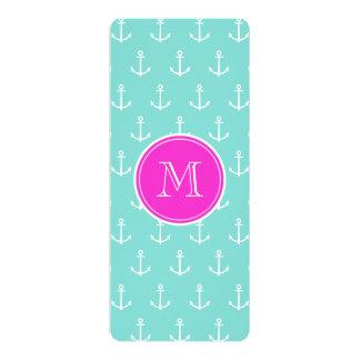 Mint Green White Anchors, Hot Pink Monogram 10 Cm X 24 Cm Invitation Card