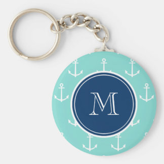 Mint Green White Anchors, Navy Blue Monogram Basic Round Button Key Ring