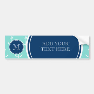 Mint Green White Anchors, Navy Blue Monogram Bumper Sticker