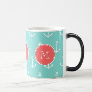 Mint Green White Anchors Pattern, Coral Monogram Magic Mug