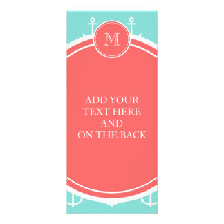 Mint Green White Anchors Pattern Coral Monogram Rack Card