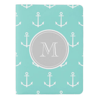 Mint Green White Anchors Pattern, Gray Monogram Extra Large Moleskine Notebook