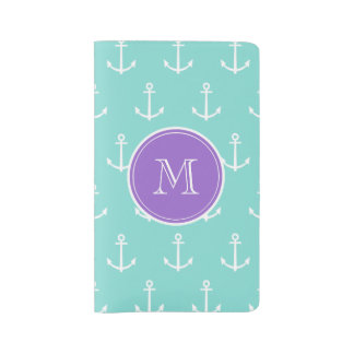 Mint Green White Anchors Pattern, Purple Monogram Large Moleskine Notebook