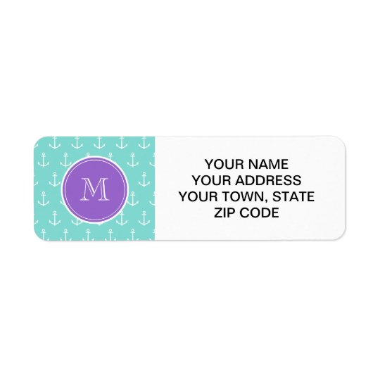 Mint Green White Anchors Pattern, Purple Monogram Return Address Label